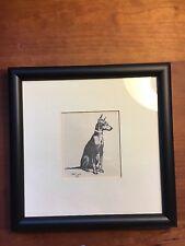 Doberman Pincher Dog Illustrated Cecil Aldin B&W Framed Print 1928