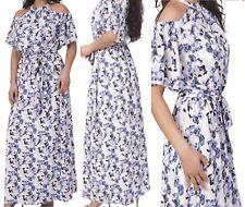 Eva Longoria Halter Bardot Cold Shoulder Floral Maxi Dress Beach Party Size S