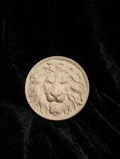 """Decorative lion head, wooden Carved lion rosette. Oak wooden element. 10"""""""