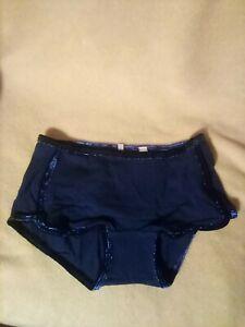 "Victoria Secret Navy Blue/Velvet Trim Boyshort Panty Size XS ""NWT"""