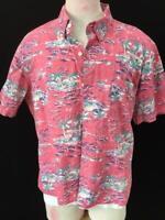IZOD Saltwater mens shirt size XL Hawaiian short sleeve pink blue beach cotton