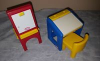 Vintage Little Tikes DOLLHOUSE SIZE  Desk, Chair and Art Easel Nice set