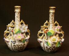 R 1880 Élégante paire de fiole précieuse Flacons à parfum 13cm Porcelaine PARIS