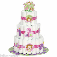 Petit singe pink girl baby shower party couche couche gâteau décoration kit