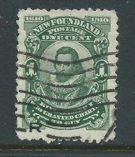 Newfoundland #87(2) 1910 1 cent green KING JAMES I Used