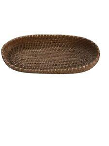 Pine Needle Basket Vanity Tray Folk Art Vintage Handmade Brown 9x4x1.