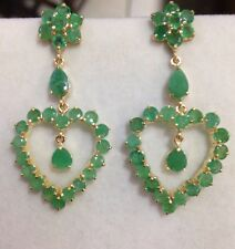 14k Solid Yellow Gold Stud Dangle Heart Earrings W/ Natural Emerald 9.40CT5.04GM