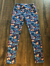 LuLaRoe OS One Size Leggings  Blue Base  Red White Prints Womens Ladies Euc
