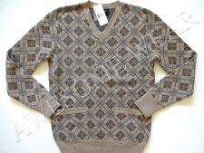 New Ralph Lauren RRL Beige Argyle 100% Cashmere V-Neck Sweater L