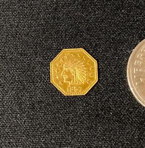 """1857"" California Fractional  Octagon Indian Gold BU Token !!"