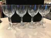 SET of 4~Bohemian~Crystal Wine Glasses Goblets~Cut Crystal~Vintage~Impeccable