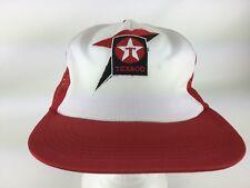 Vintage Texaco Gas Statuon Lubricants Oil Red Cap Mesh Snapback Hat USA RARE