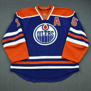 2013-14 Nick Schultz Edmonton Oilers Game Used Worn Reebok Hockey Jersey NHL