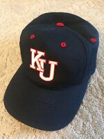 KU Kansas University Snapback Hat Navy+Red Embroidered