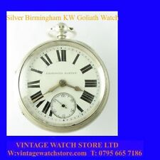 Stunning Silver Jewish Pappe of Birmingham Goliath Non-Fusee Pocket Watch 1899