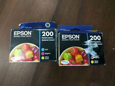 Genuine Epson 200 Color Yellow Magenta Cyan Ink Cartridges 6 Pack T200520 NEW