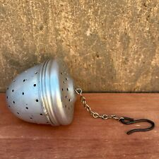 VTG Aluminum Acorn Herb Spice Tea Ball Infuser Strainer w Chain & Hook Screw Top