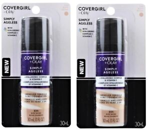 2 x COVERGIRL 30mL OLAY 3-IN-1 FOUNDATION SIMPLY AGELESS 225 BUFF BEIGE NEW