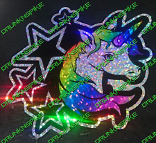Unicorn Stars Glitter Sticker Decal  Funny Car Van Euro Dub Jdm Chopped Unicorn
