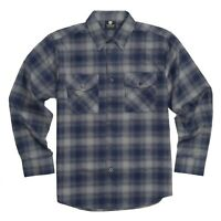 YAGO Men's Casual Plaid Flannel Long Sleeve Button Up Shirt Navy/A2 (S-5XL)