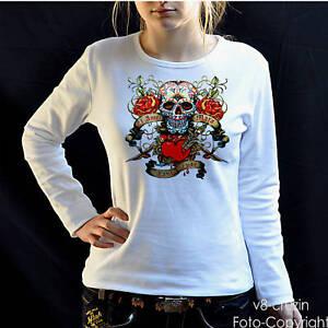 Gothique Crâne Tatouage Femmes Fille T-Shirt 1183 WH Ls
