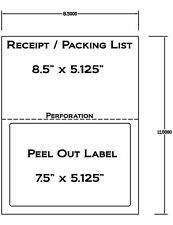 1000 Laser /ink Jet Labels for Use With FedEx UPS PAYPAL Tear off Receipt 5127