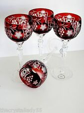 "AJKA MARSALA EXCELSIOR RUBY RED CASED CUT TO CLEAR WINE GOBLETS 8 1/2""  Set of 4"