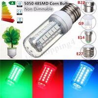 E27/E14/G9/B22 Red/Green/Blue 48 SMD 5050 LED Corn Light Bulb Lamp 110/220V