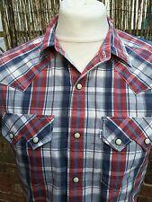 "Levi Strauss & Co Sawtooth Pocket Western Popstud Check Slim Fit Shirt C38"""