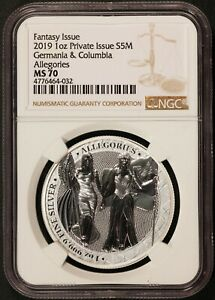 2019 Germania 5 Mark Allegories Columbia 1 oz .9999 Silver Coin - NGC MS 70