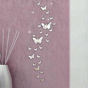30Pcs/Set Acrylic 3D Butterfly Mirror Effect Removable Wall Sticker Decals Decor