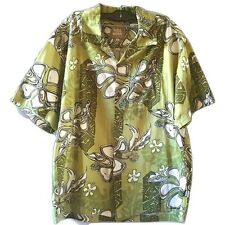 Toes On The Nose Mens Hawaiian Shirt Large Green Floral Shag Tiki Short Sleeve