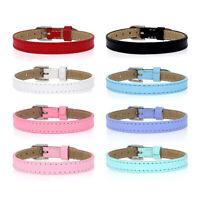 8pcs 8mm Genuine Leather Bracelet Straps Slide Wristbands for 8mm Slide Charms