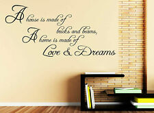 A House Is Made Of Bricks and Beams Wall Art Quote Stickers, Wall Decals B42