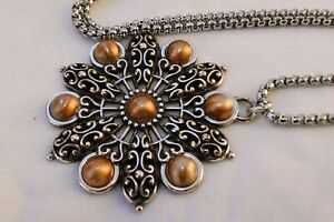 Altered Brighton Barcelona Silver Gold Pendent Long Chain Necklace