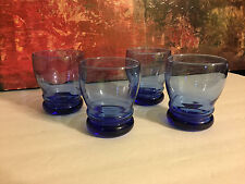 4 Libbey Mediterranean Cobalt Blue Bangles Old Fashioned Double 15 Oz Tumblers