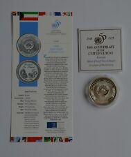 More details for 1995 kuwait silver proof two dinars united nations 50th anniversary coin coa