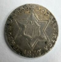 1857 Silver Three Cent Piece About Uncirculated AU or UNC MS Toned