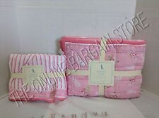 Pottery Barn Kids Karina Spring baby pink floral Nursery Crib Skirt Quilt Set 2