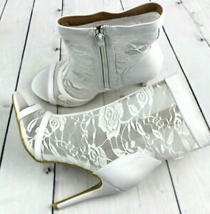 Womens White High Heels Open Toe Zipper Party Stiletto Sandals Shoes Ankle Boots