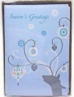 Christmas Holiday Cards Seasons Greetings Reindeer Blue 16ct New