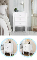White Nightstand Solid Wood End Table Bedroom Storage Wood Side Bedside