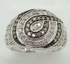 14k WHITE GOLD WIDE BAND WITH CHAMPAGNE AND WHITE DIAMONDS