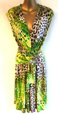 Joseph Ribkoff 12 Dress in silky green spotted & animal print tie front (B122