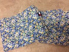 """TOMMY HILFIGER SHAMS SET OF 2 """"STANDARD"""" BLUE YELLOW SMALL FLORAL 100% COTTON"""