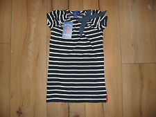 LITTLE LINENS BABY GIRL NAVY STRIPE 100% COTTON BOW DETAIL DRESS AGE 12-18 MTHS