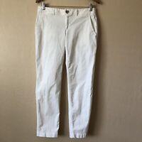 Banana Republic City Chino White Trouser Ankle Pant Cotton Blend Women Size 4