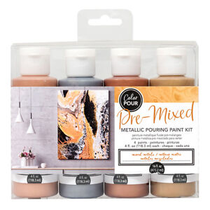 American Crafts Color Pour Pre-Mixed Mixed Metallic Pouring 4-Piece Paint Kit