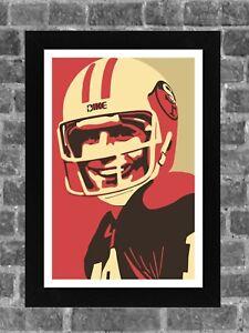 San Francisco 49ers Joe Montana Portrait Sports Print Art 11x17
