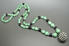 Vintage French Art Deco green black Glass beaded rondel Necklace